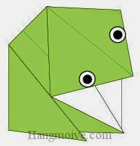 Bước 6: Vẽ mắt để hoàn thành cách xếp con ếch bằng giấy origami đơn giản.