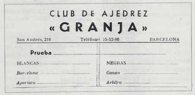 Planilla utilizadas por el Club Ajedrez Granja en los años 50
