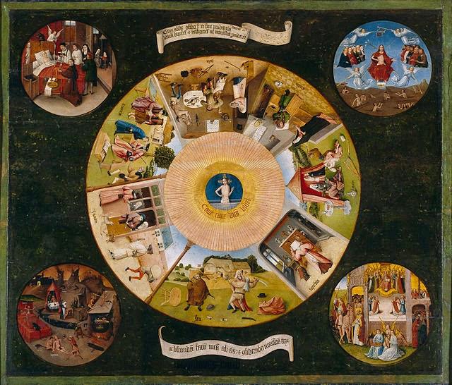 Mesa de los Pecados Capitales del gran pintor holandés Jerónimo Bosch