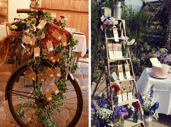 tableau mariage vintage con bicicletta e scala