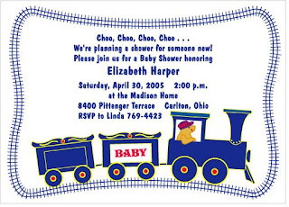 Train Baby Boy Baby Shower Invitations