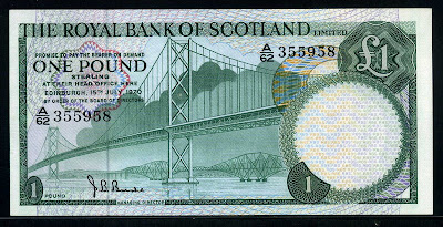 Royal Bank of Scotland banknotes one Pound Note Pound Scots