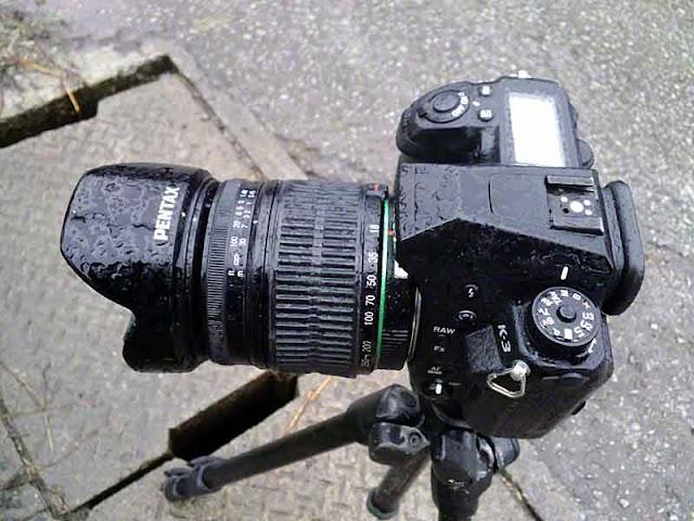 Pentax K3, camera, raindrops,tripod