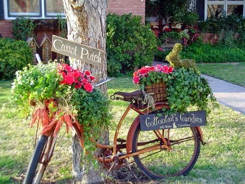 ogród rustykalny rower