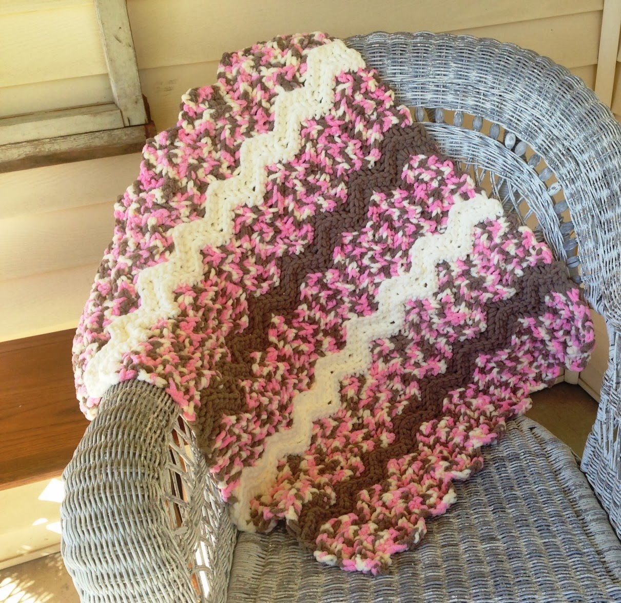 Crochet Patterns Using Bernat Blanket Yarn : New Crochet Bernat Baby Blanket Pattern The Kamden Ripple Blanket