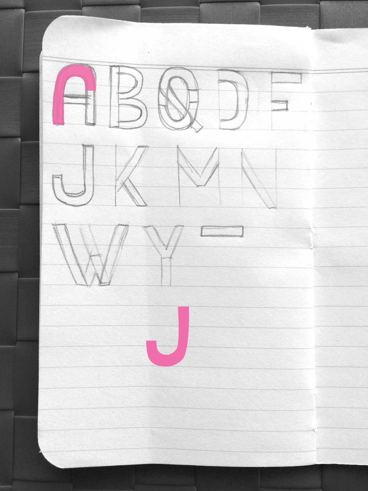 Drawing letter J - Create a font with minimal sketching