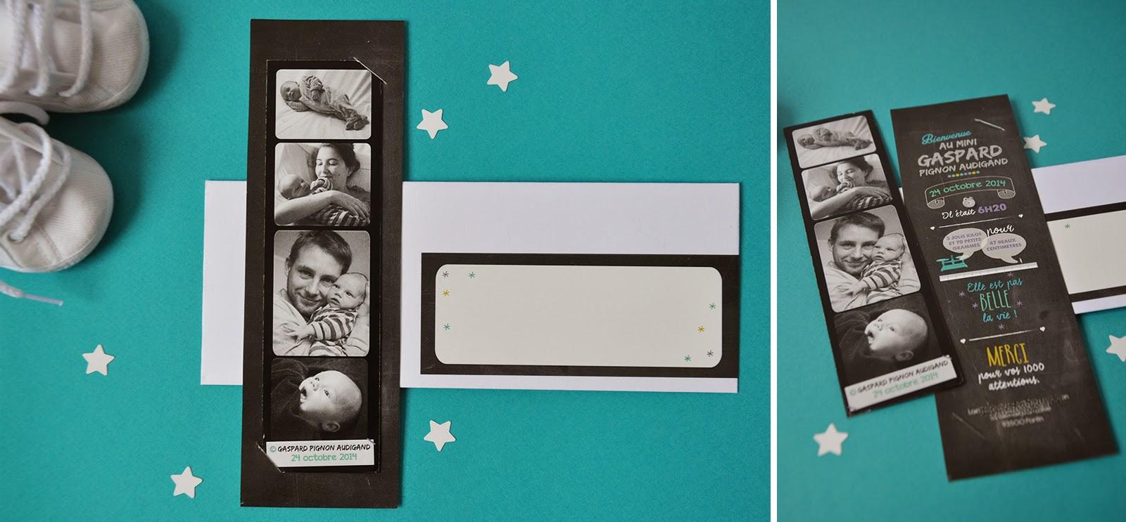 arr te de r ver faire part les faire part de naissance photomaton ins r dans son carton. Black Bedroom Furniture Sets. Home Design Ideas