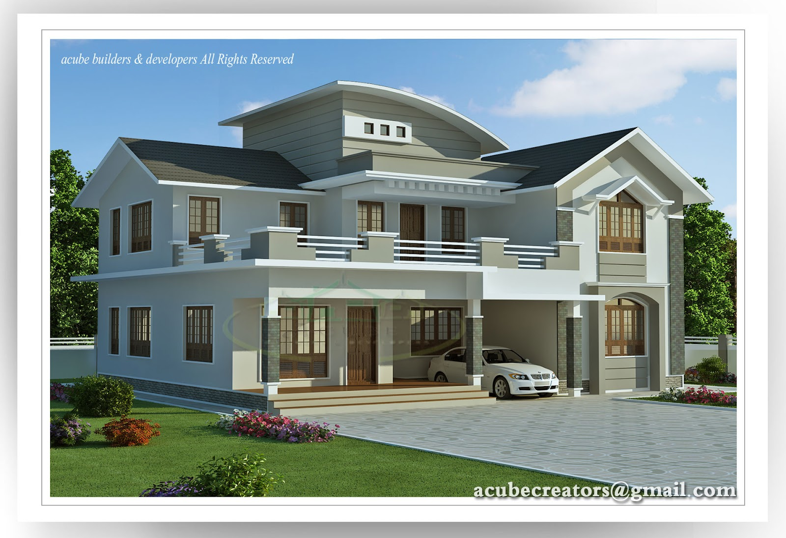 Modern style villa 2960 sq ft plan 147 acube for Plan villa moderne