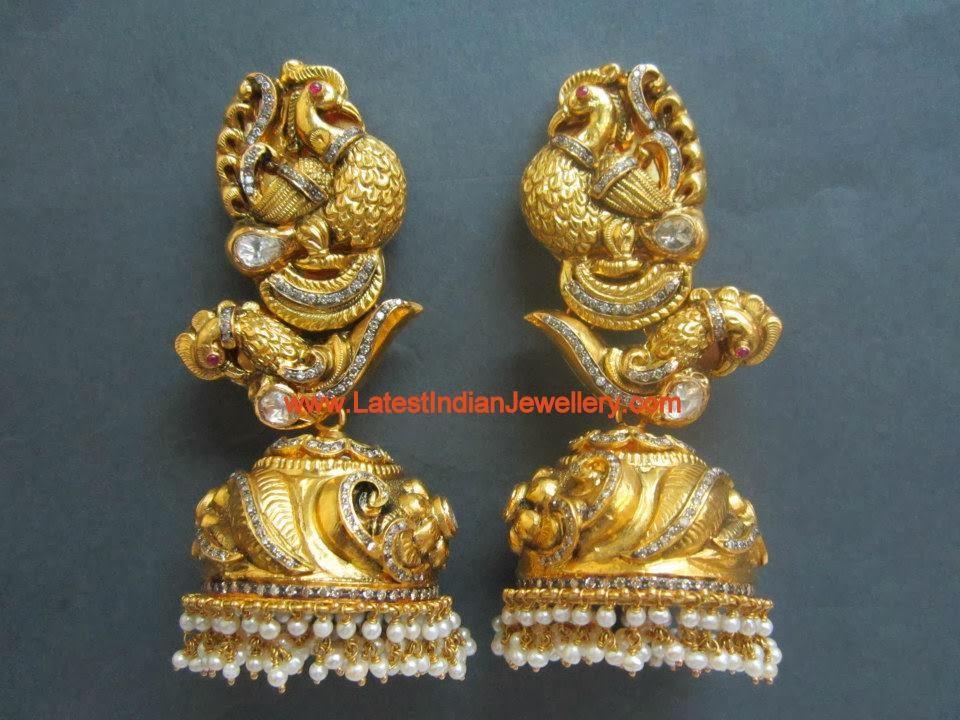 Nakshi Design Gold Jhumkas