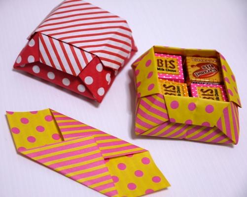 折り紙の リボンの折り紙の作り方 : ... 折り紙でギフトボックス作り方