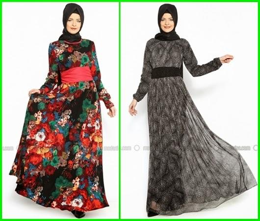 desenli kapalı elbise modelleri