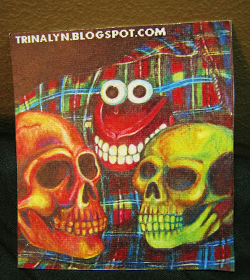 skull chattermouth toy plaid stilife sticker