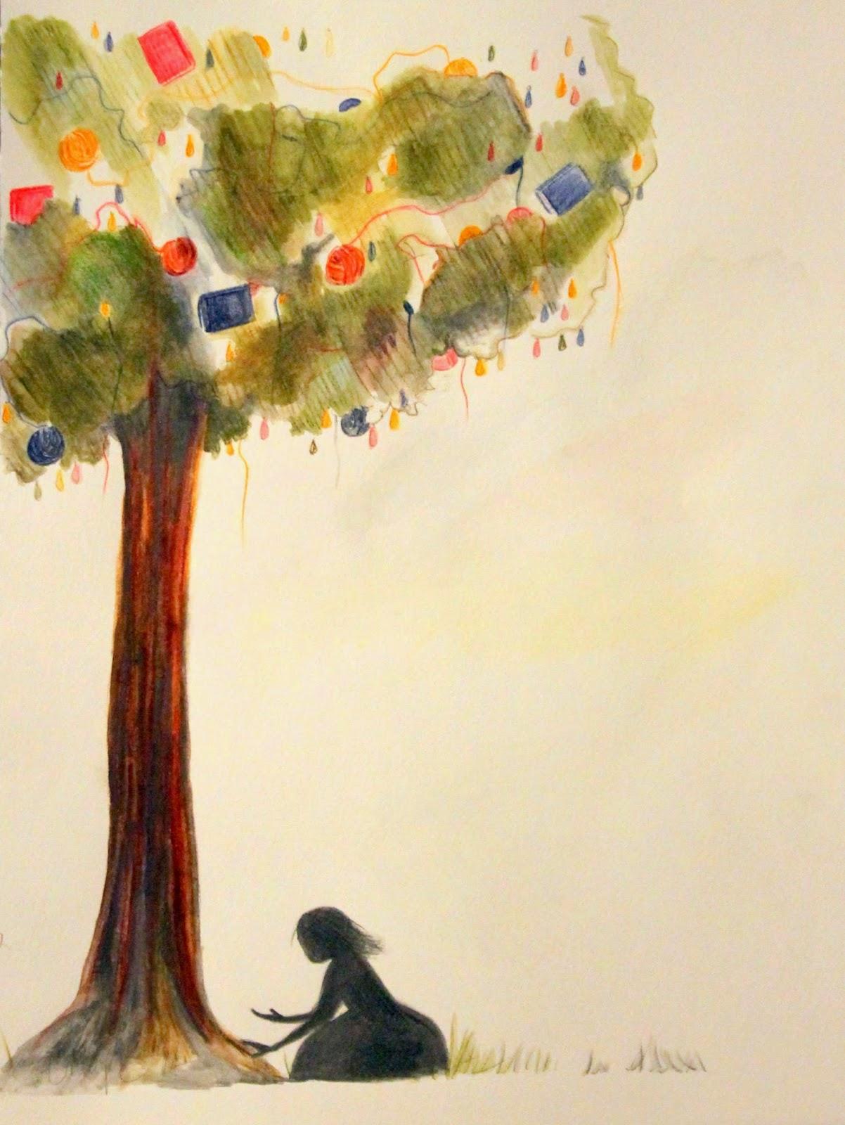 Book and yarn tree silhouette girl
