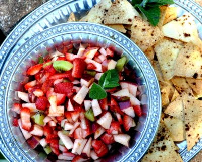 Strawberry Salsa with Sweet-Cinnamon Baked Tortilla Chips