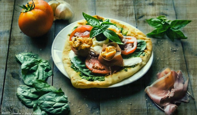 Homemade Naan Bread Pizza with Trout fish & Prosciutto
