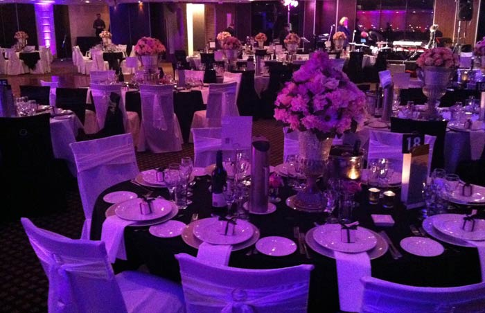 The bridal table was the centrepiece of the room and was swathed in purple black and purple wedding table setting & Zandriau0027s blog: Chic bridal shower invitations in black and white ...