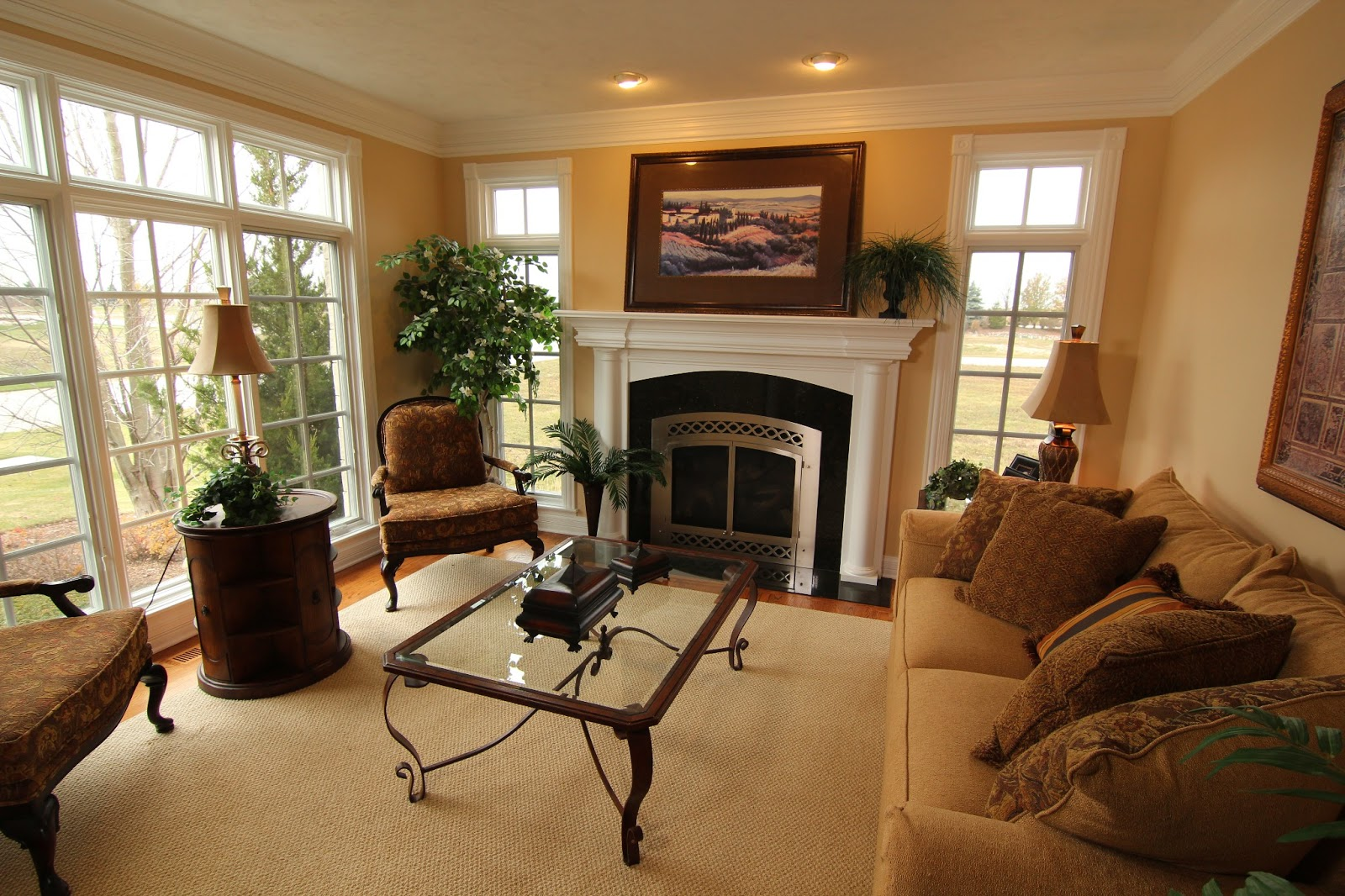 Cozy Living Room With Fireplace And Tv