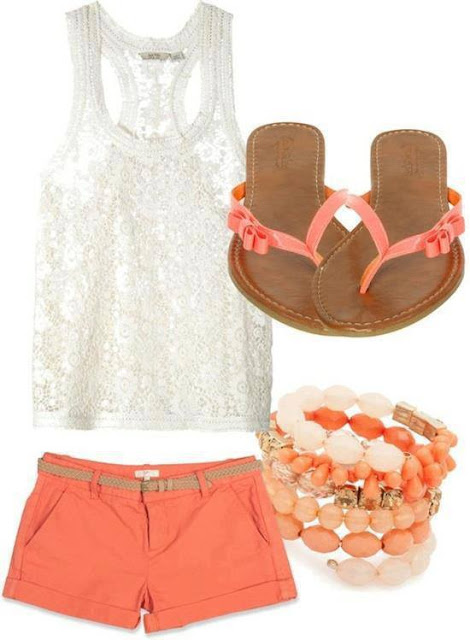 White lace blouse, pink shorts, slippers and bracelet for ladies