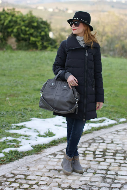 moncler duvet jacket, cold weather jackets, Ruco Line boots, Fashion and Cookies, fashion blogger