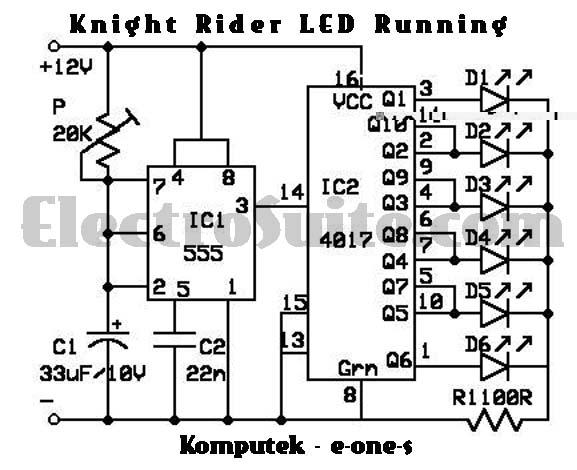 rangkaian pcb  knight rider