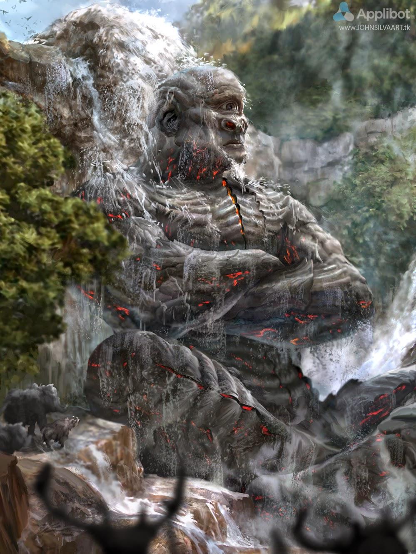 illustration de John Silva représentant un cyclope de pierre assis sous une cascade