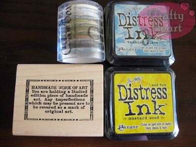 ColorBox ink pad - Basics, Tim Holtz Distress ink pads - Tumbled Glass,  Mustard Seed, Stampers Anonymous rubber stamp