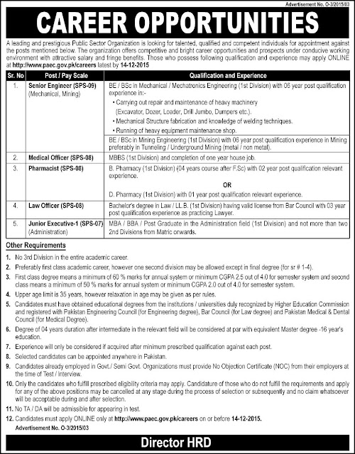 Jobs in Pakistan Atomic Energy Commission 2015
