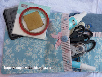 Inside the Pencil Case made from Stampin Up Designer Fabric