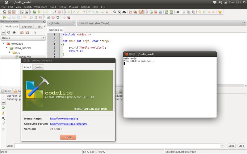 Codelite IDE di Ubuntu 11.04 Natty Narwhal