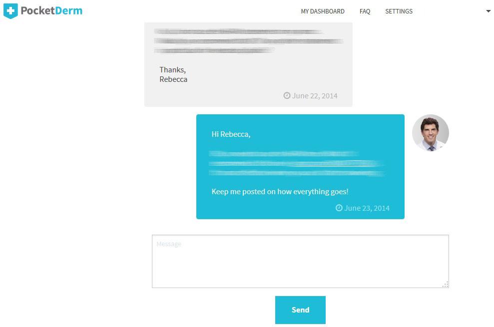 PocketDerm consultation window interface review