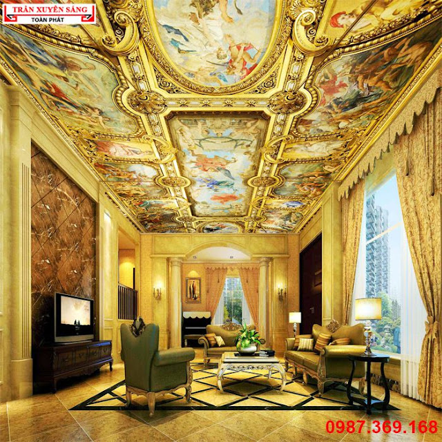 Trần phòng khách phong cách cổ điển