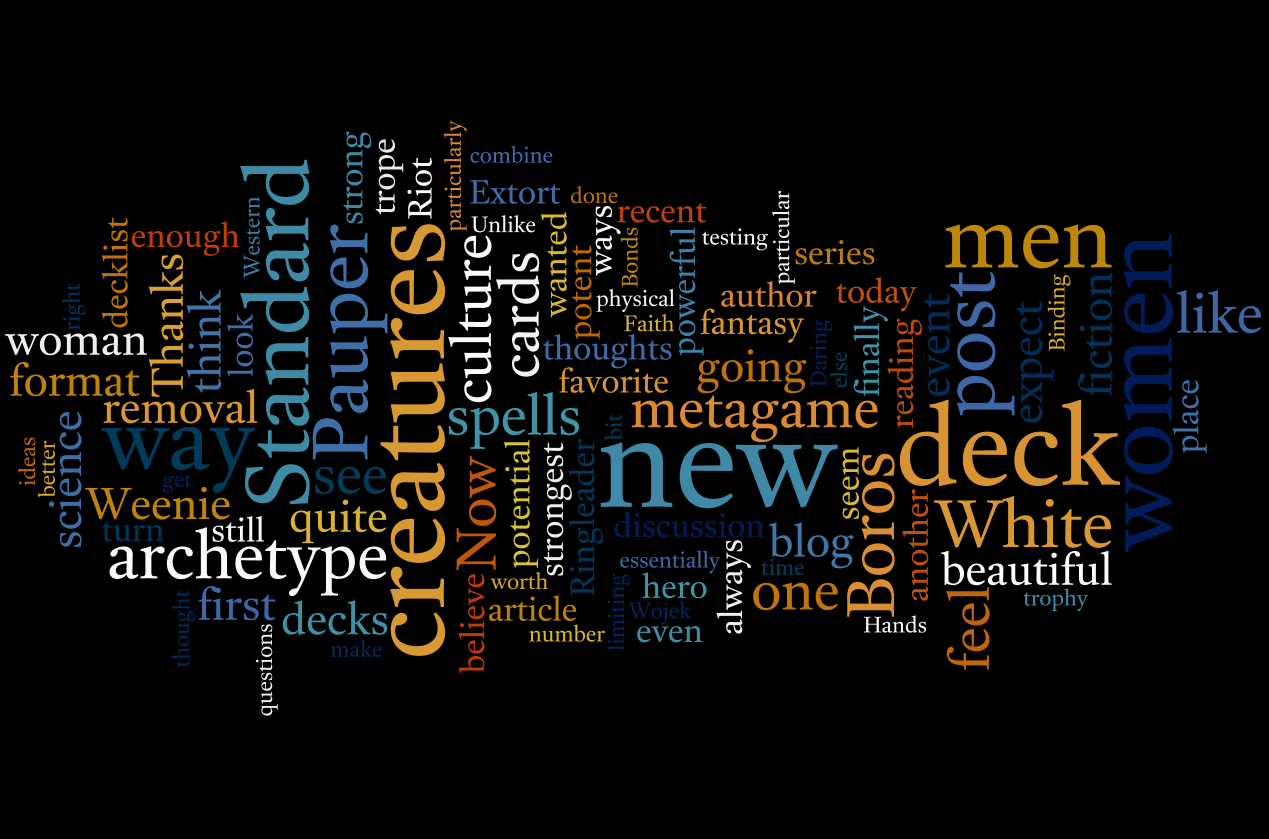 The wordle program has a whole slew of features allowing you to change the colors the orientation the font