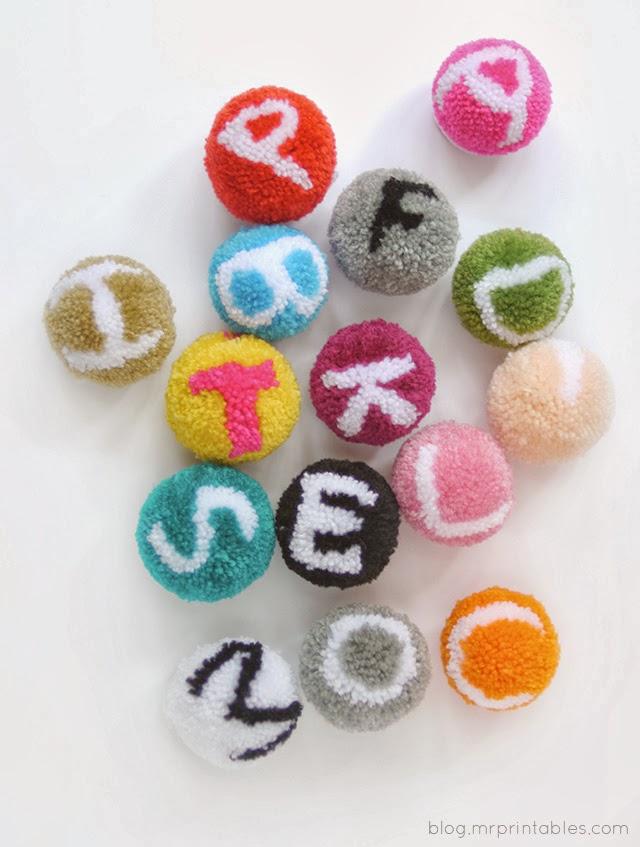 tangled happy alphabet pom poms With pom pom letters