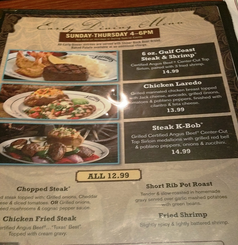 Saltgrass Steakhouse   Golden Nugget Laughlin Early Dining Special