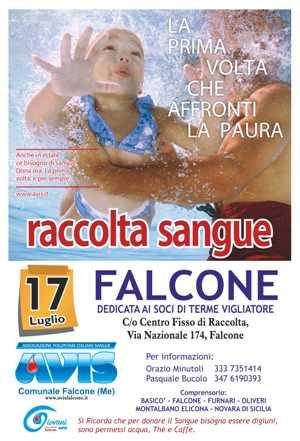 RACCOLTA SANGUE IL 17 LUGLIO A FALCONE NEL CENTRO FISSO IN VIA NAZIONALE, 174