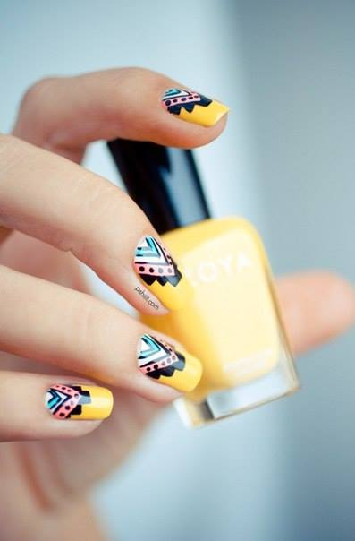 Yellow Top tribal Design Nails  | Nails