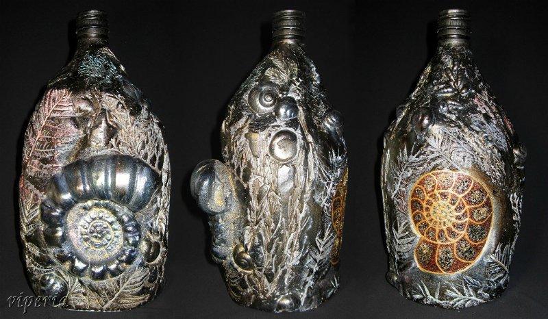 Декор бутылок структурной пастой мастер класс