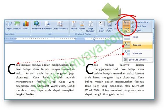 Gambar: Contoh cara pembuatan huruf awal paragraf menjadi lebih besar (drop caps) di ms word