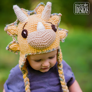 CERA TOPS THE TRICERATOPS DINO HAT PDF CROCHET PATTERN