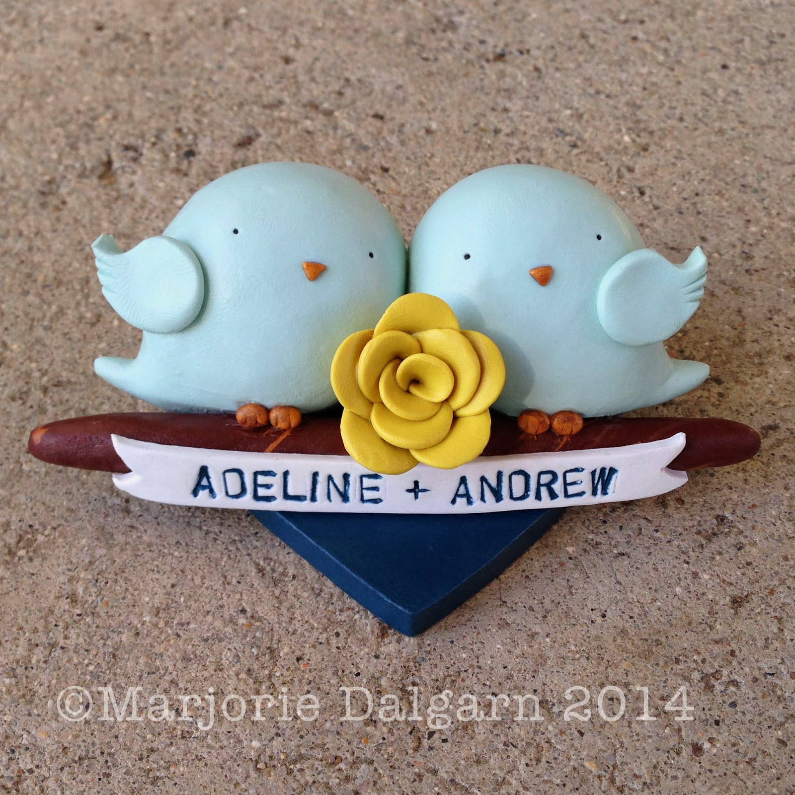 tweets in love polymer clay wedding cake topper | 3moonbabies.etsy.com