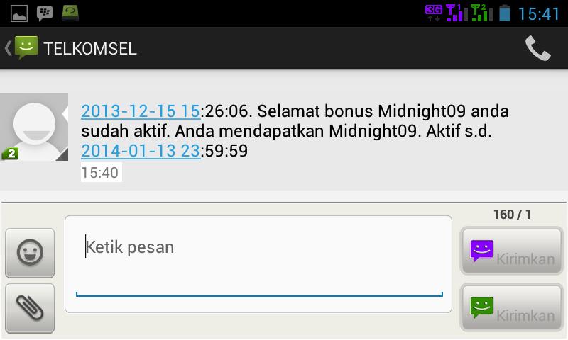 10. Berikut ini sms pemberitahuan dari TELKOMSEL bahwa paket midnight ...