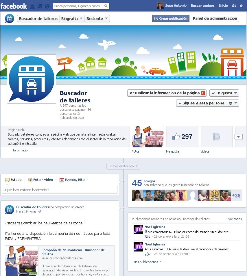 Ejemplo de página Facebook oficial de www.buscadordetalleres.com