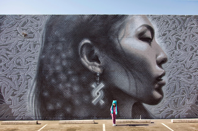"""El Mac recently stopped by Phoenix in Arizona where he created this large-scale mural entitled """"Nuestra Gente"""" ( Our People )."""