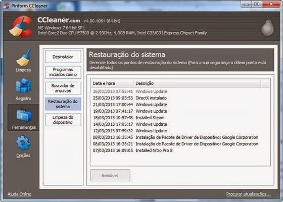 Restaurador de Sistema do CCleaner - 560x400