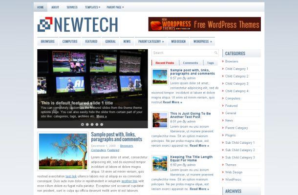 Free Blue News Magazine Wordpress Theme Template - Free Wordpress Themes