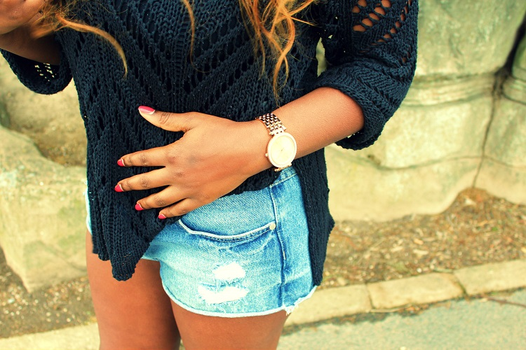 Michael Kors watch, rose gold, high waisted shorts