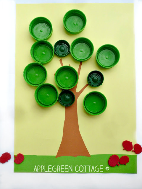 apple search bottle cap activity for kids