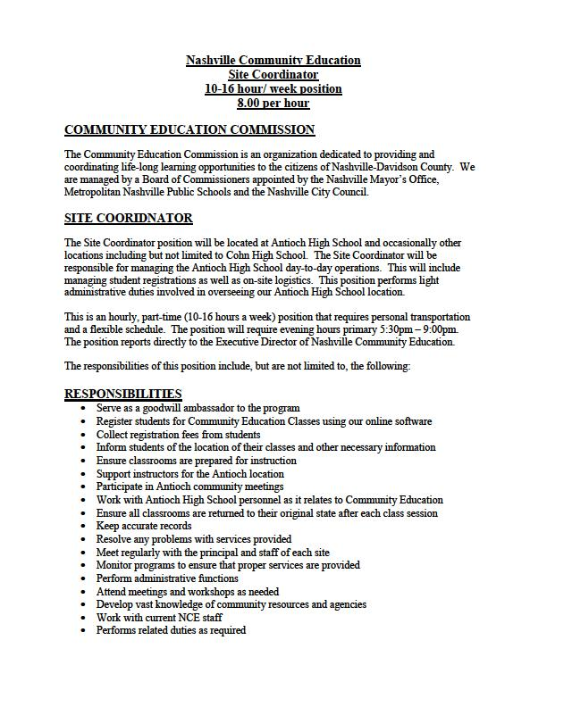 Education Coordinator Position Description BestSellerBookDB