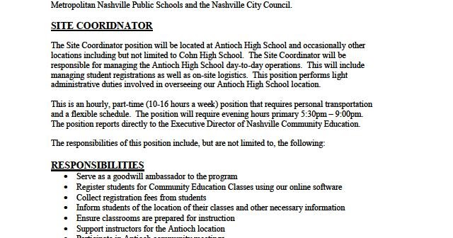 Metro Council District  Part Time Opportunity In Southeast