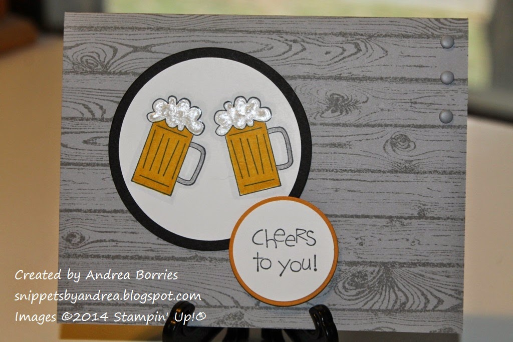 "Masculine birthday card with gray woodgrain-style background, two mugs of beer and the sentiment ""cheers to you."""